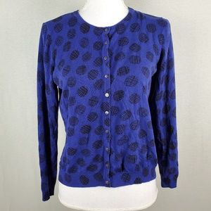 M&S Collection Cardigan Royal Blue Blk Circle UK14